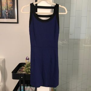 Blue mini dress with open strapped back